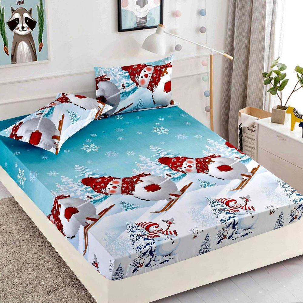 husa de pat cu elastic oameni de zapada