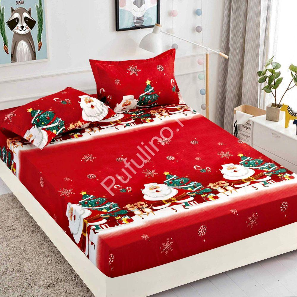 husa de pat cu elastic rosie craciun