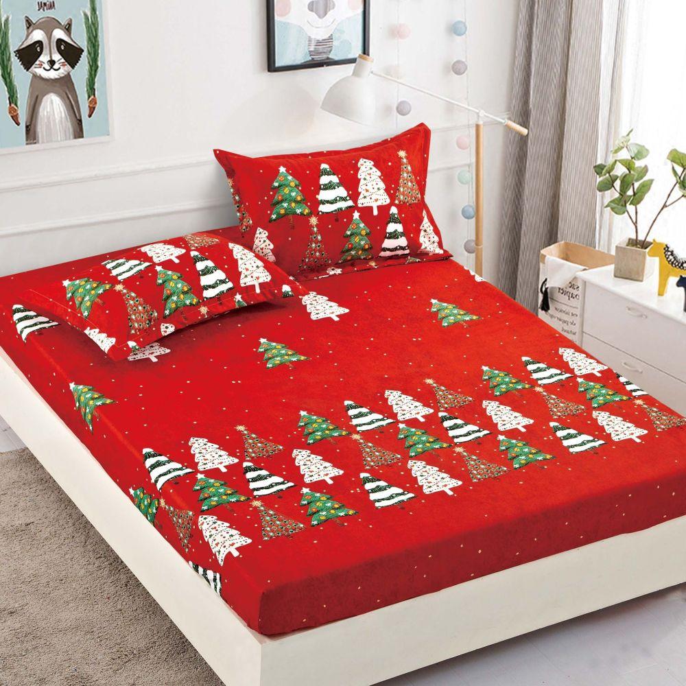 husa de pat cu elastic rosie cu brazi