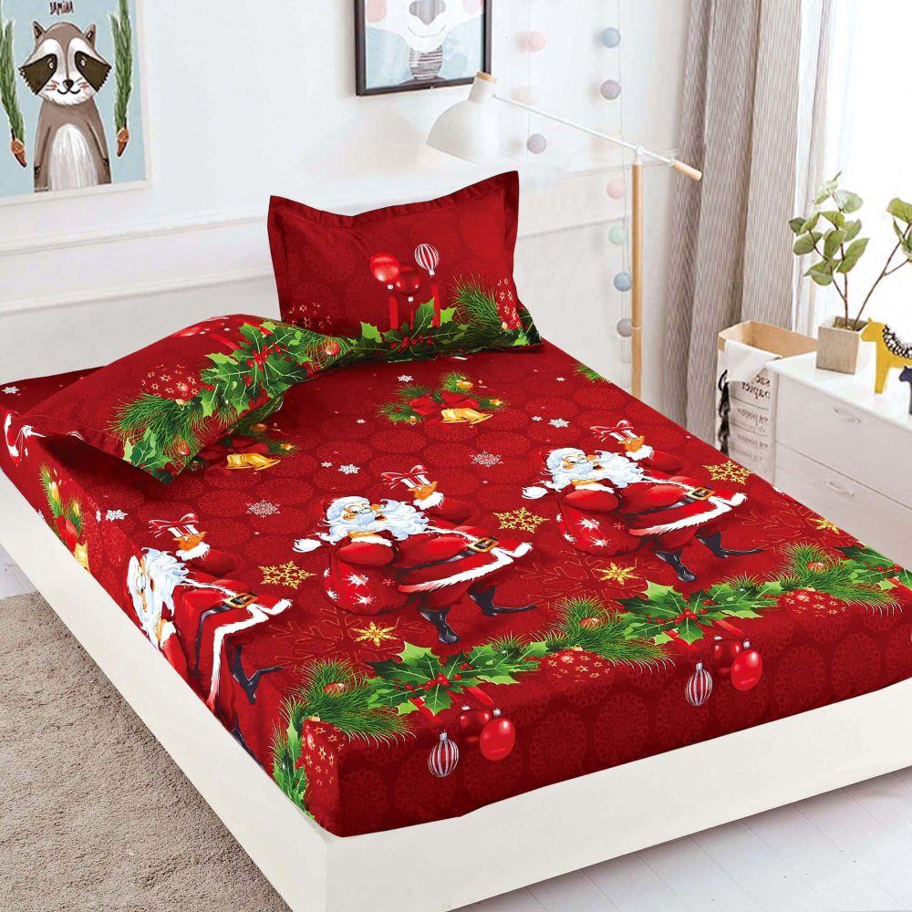 husa de pat cu elastic rosie mos craciun
