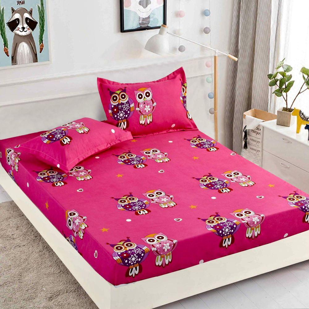 husa de pat cu elastic roz cu bufnite