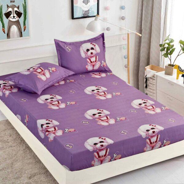 husa de pat cu elastic violet cu catelusi