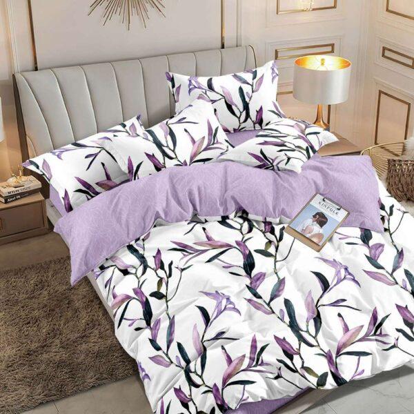 lenjerie alb violet cu crengute