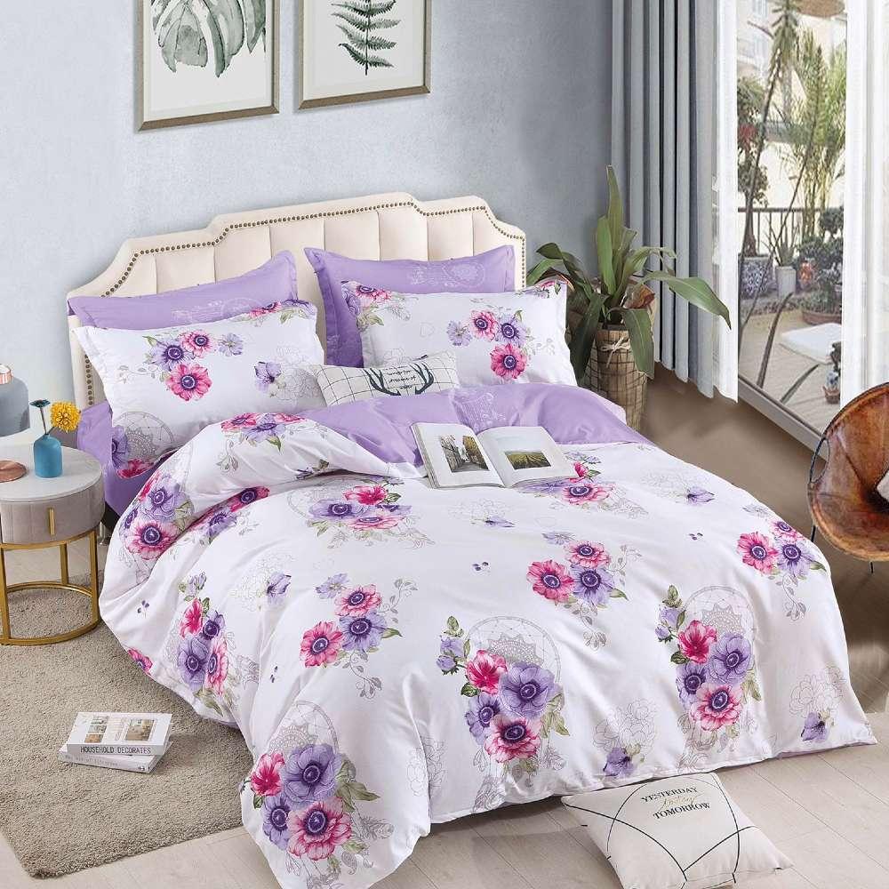 lenjerie alb violet cu flori