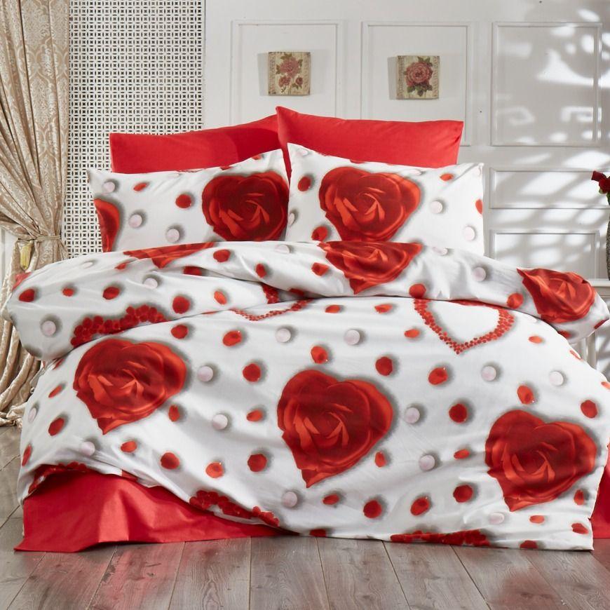 lenjerie de pat alb cu rosu trandafiri