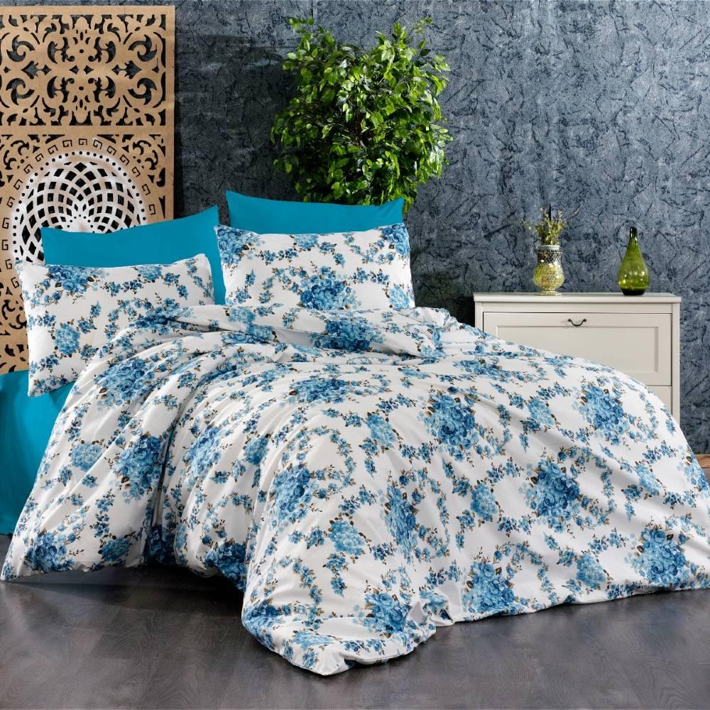 lenjerie de pat albastra cu flori