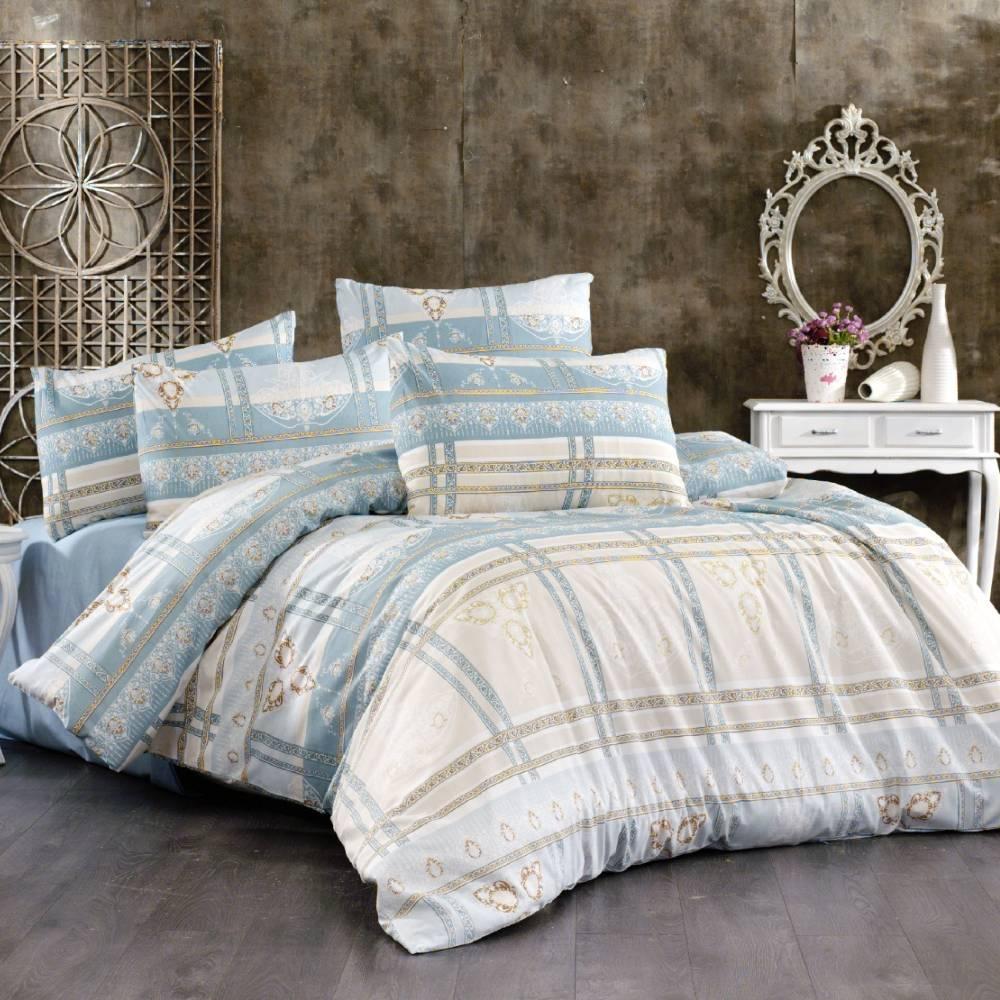 lenjerie de pat bleu cu crem