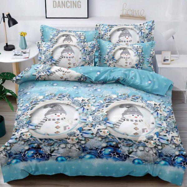 lenjerie de pat bleu cu oameni de zapada