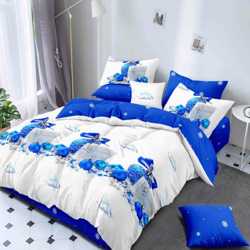 lenjerie de pat craciun albastra