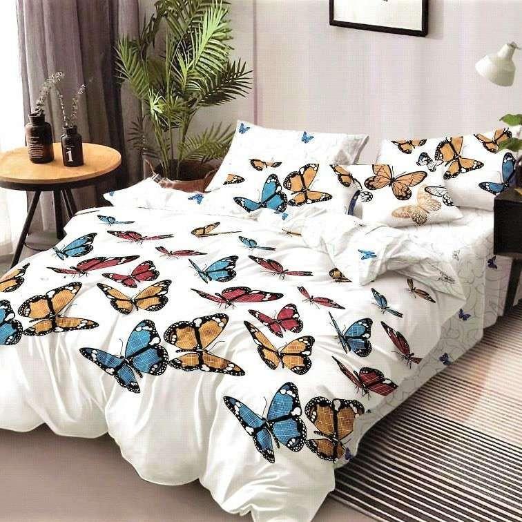 lenjerie de pat finet alba cu fluturi colorati