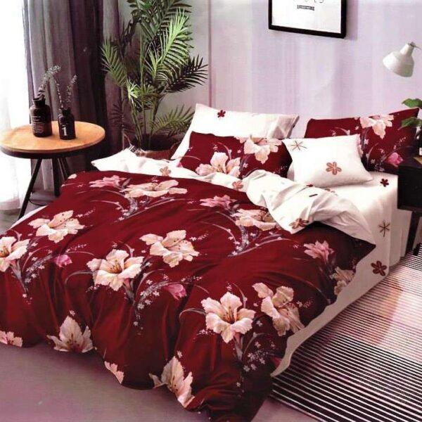 lenjerie de pat finet crem grena cu flori