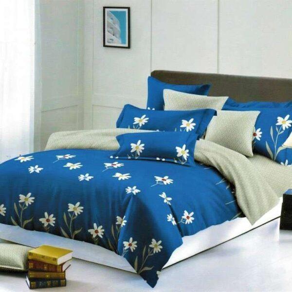 lenjerie de pat finet albastra cu flori albe