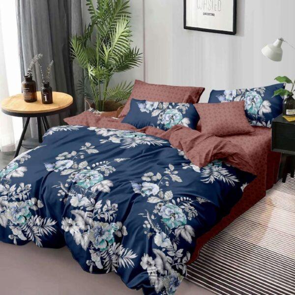 lenjerie de pat finet bleumarin maro cu flori