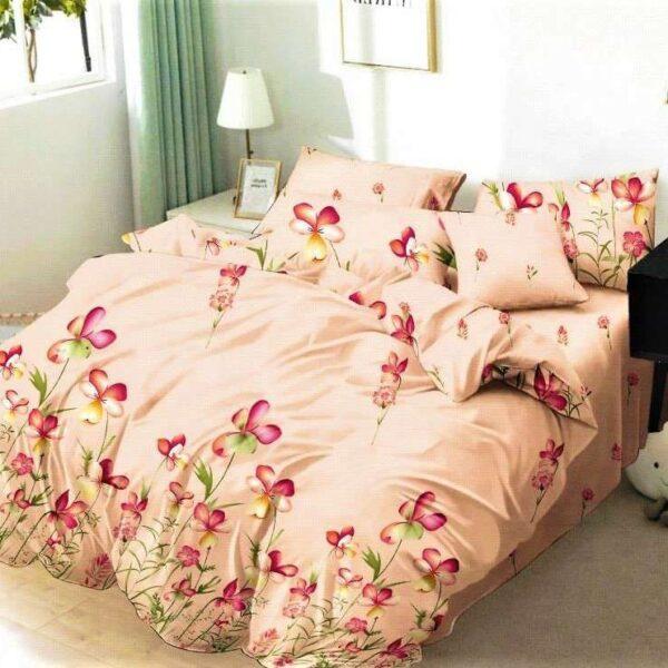 lenjerie de pat finet somon cu flori