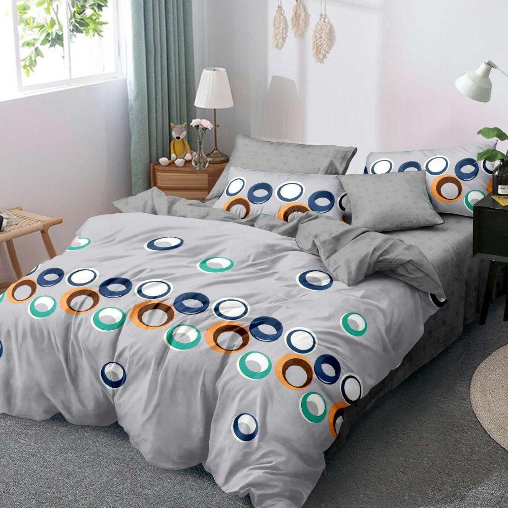lenjerie de pat finet gri cu cercuri