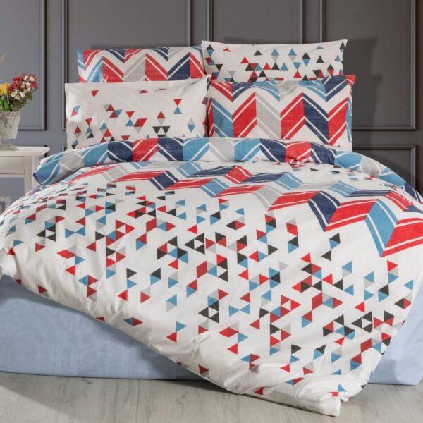 lenjerie de pat model geometric multicolor