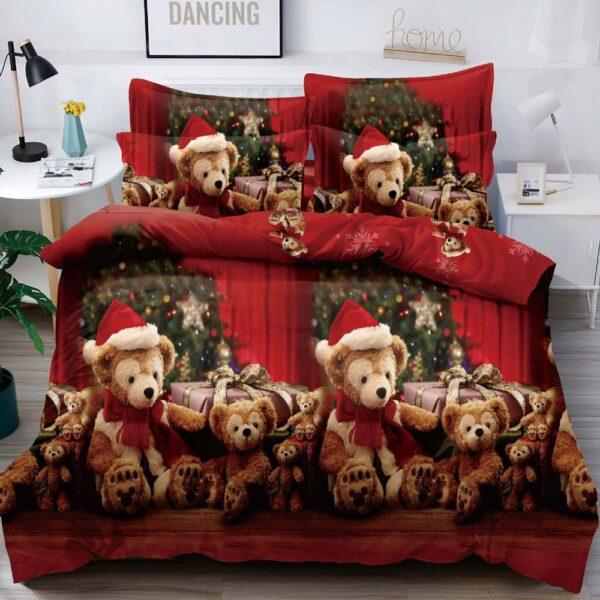 lenjerie de pat rosie cu ursuleti