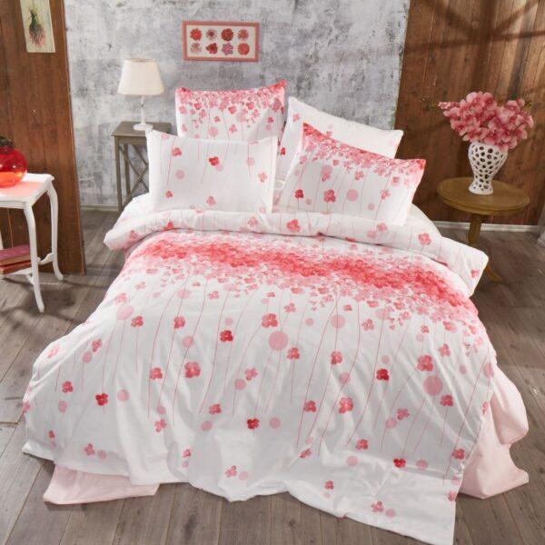 lenjerie de pat roz alb cu flori