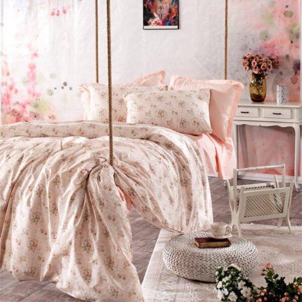 lenjerie de pat somon cu flori