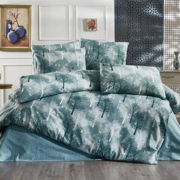lenjerie de pat turcoaz cu copaci