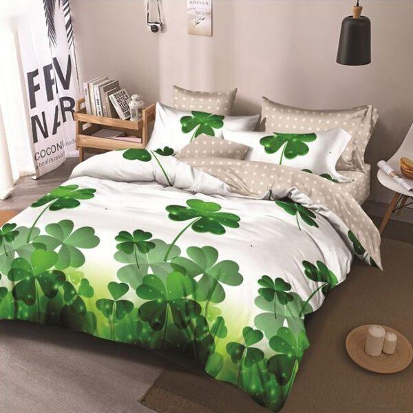 lenjerie de pat verde cu 2 fete flori noroc