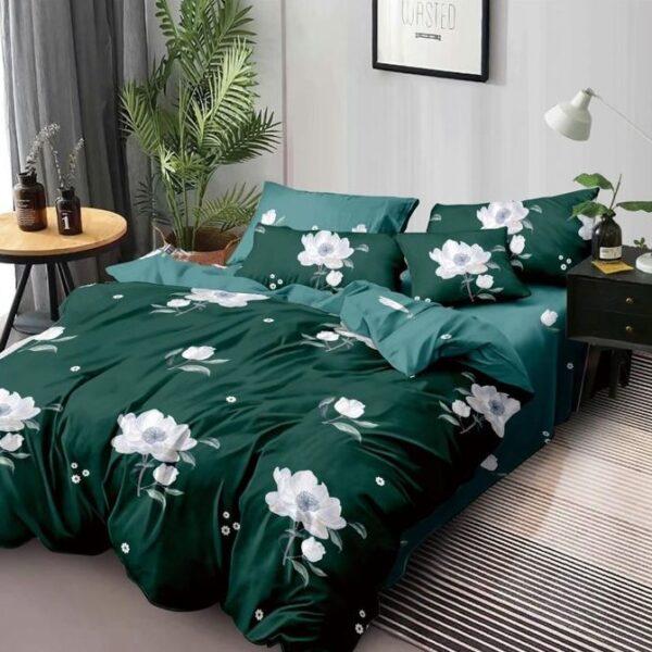 lenjerie de pat verde cu flori albe