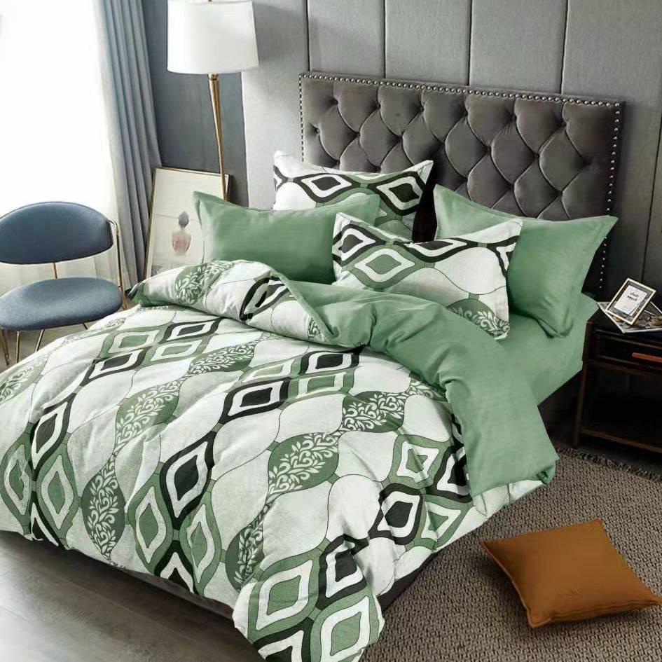 lenjerie de pat verde cu romburi