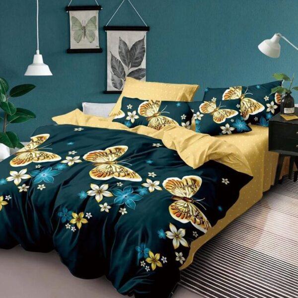 lenjerie de pat verde inchis cu fluturi aurii