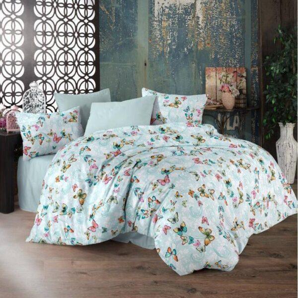 lenjerie de pat verde menta cu fluturi