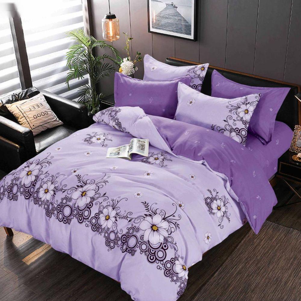 lenjerie de pat violet cu flori albe