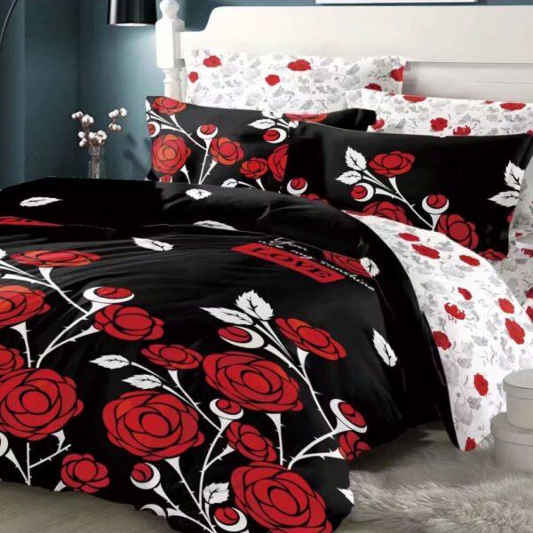 lenjerie din bumbac satinat neagra cu trandafiri