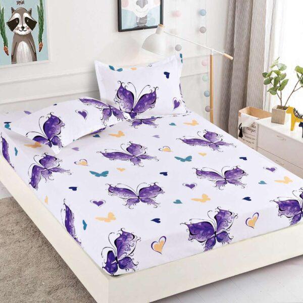set husa de pat si perne alba cu fluturi mov