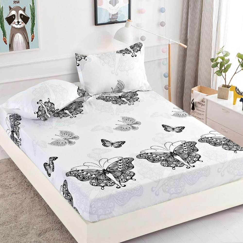 set husa de pat si perne alba cu fluturi negri