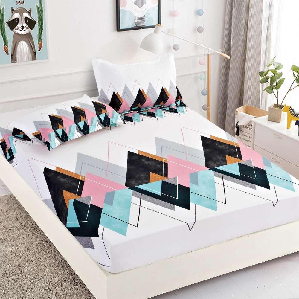 set husa de pat si perne alba cu romburi