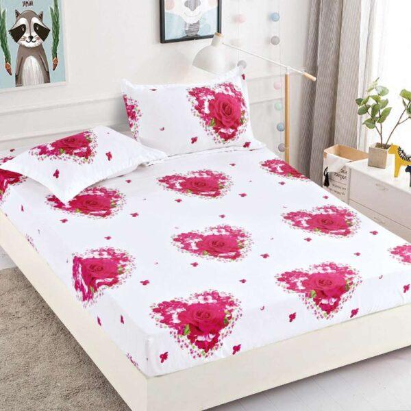 set husa de pat si perne alba cu trandafiri roz