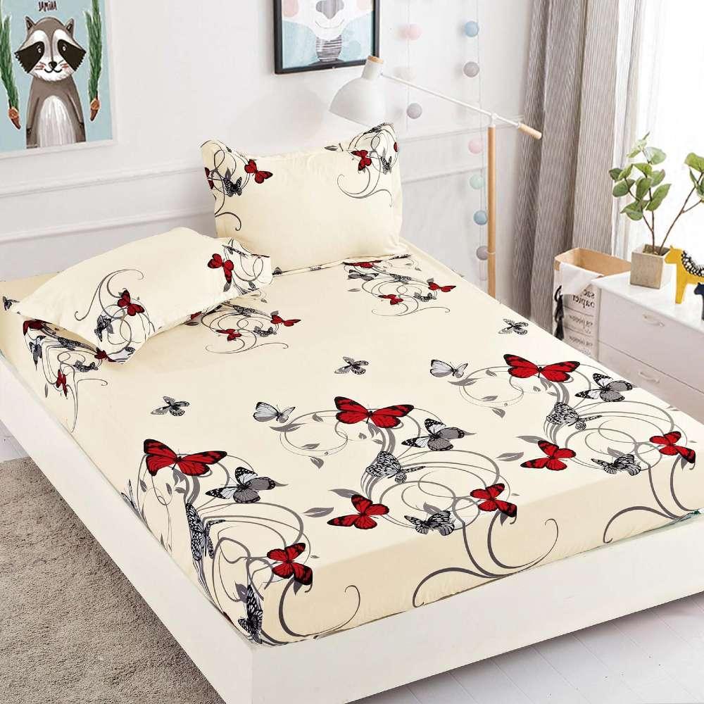 set husa de pat si perne crem cu fluturi