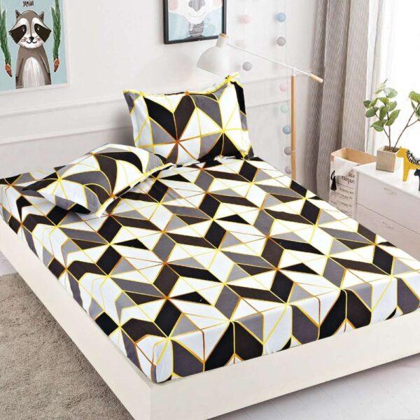 set husa de pat si perne forme geometrice