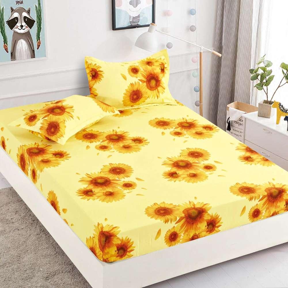 set husa de pat si perne galbena floarea soarelui