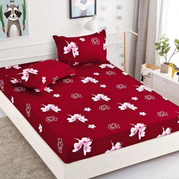 set husa de pat si perne grena cu flori