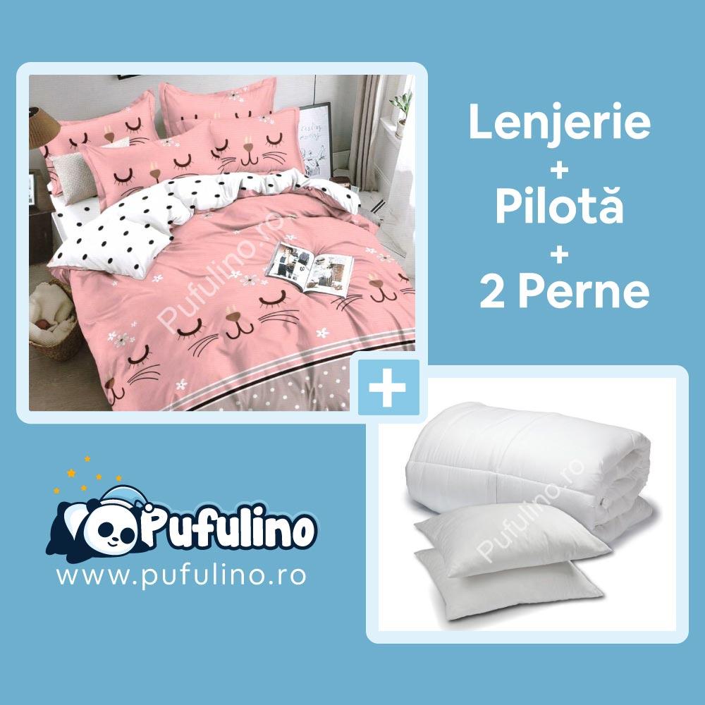 set lenjerie de pat roz pisicute cu perna si pilota