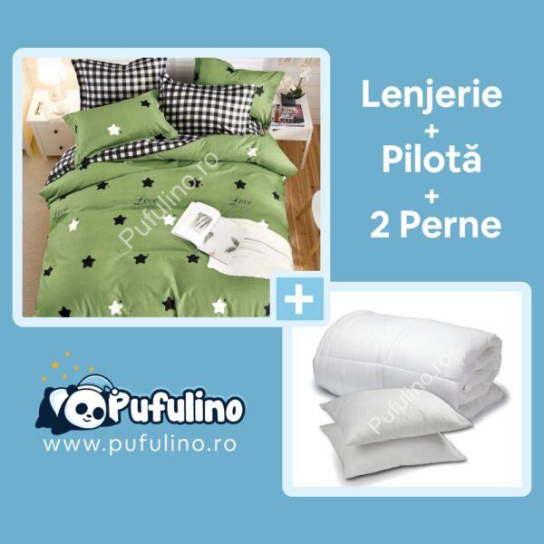 set lenjerie de pat verde cu perne si pilota